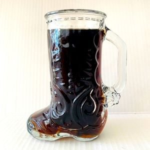 Cowboy boot cup glass mug Libby of Canada